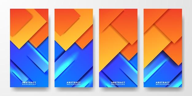 Social media stories moderne levendige geometrische oranje en blauwe duotoon abstracte gradiënt concept cover poster-sjabloon voor spandoek voor futuristische technologie