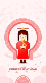 Social media story template met een meisje in traditionele outfit die een gelukkig chinees nieuwjaar begroet