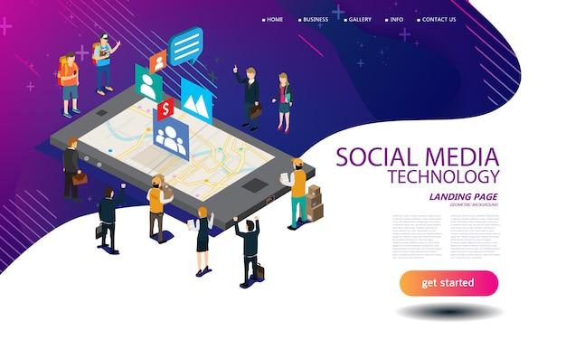 Social media technologieontwerp voor landingspagina-sjabloon