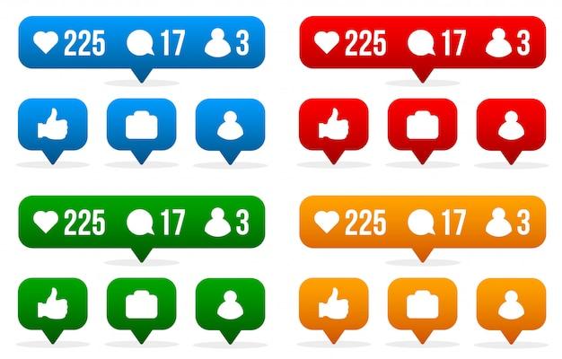 Social media tekenen zoals, volger, reactie.