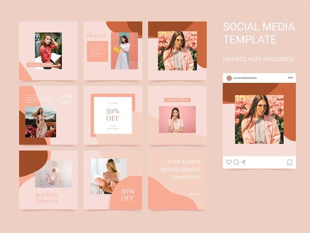 Social media template puzzle square met esthetische kleur