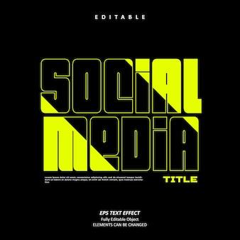 Social media titel licht stabilo teksteffect bewerkbaar premium premium vector