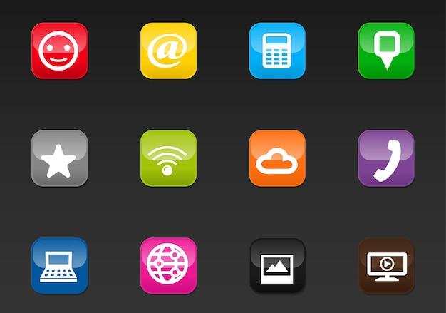 Social media vector iconen voor gebruikersinterface ontwerp