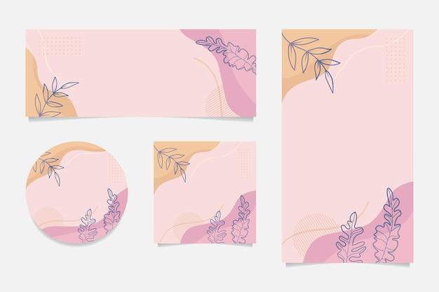 Social media verhaal abstract floral sjabloon