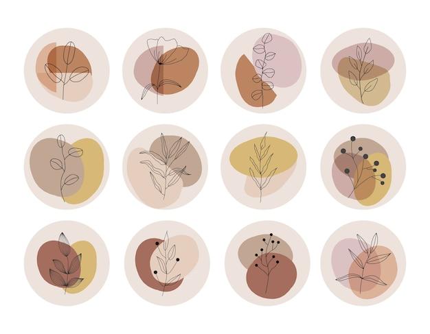 Social media-verhaal benadrukt covers. abstracte vormen en bladeren uit het midden van de eeuw