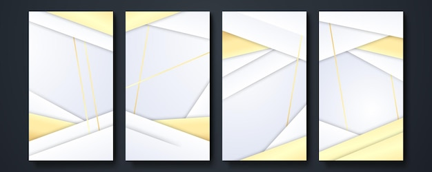 Social media verhaal sjabloon achtergrond. collectie van designelementen, design van luxeproducten. gemaakt met gouden lijnen. geïsoleerd op een witte achtergrond. vector illustratie