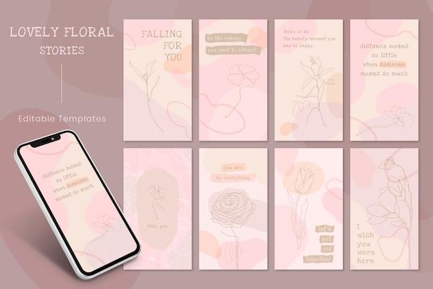 Social media verhaal sjabloon vector set in roze