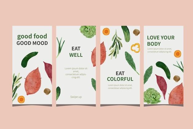 Social media verhaalsjabloonverzameling met eatercolor plantaardige illustratie