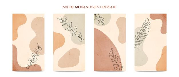 Social media-verhalen en post creatieve omslagset. minimale trendy hand tekenen stijl.