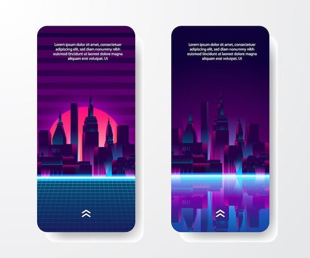 Social media verhalen sjabloon. grote stad stedelijk silhouet wolkenkrabber bouwen met reflectie neon retro 80s