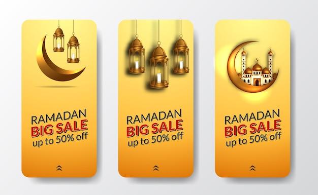 Social media verhalen sjabloon voor ramadan grote verkoopaanbieding met gouden lantaarn, moskee en halve maan luxe decoratie met gele achtergrond