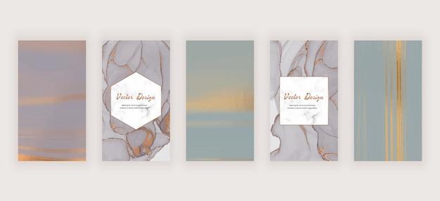 Social media-verhalenbanners met grijze en neutrale vloeibare inkt en marmeren frame