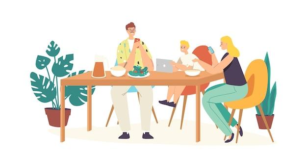 Social media verslaving concept. familiekarakters ouders en kind zitten samen thuis, moeder en vader negeren zoon die smartphones gebruikt voor internetcommunicatie. cartoon mensen vectorillustratie