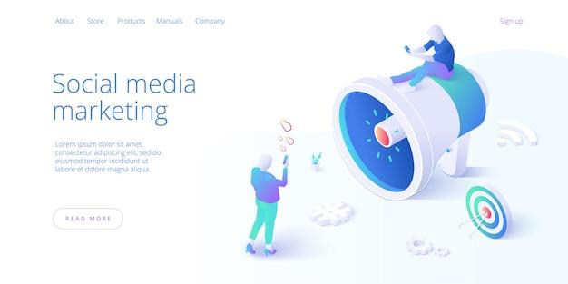 Social media-verslaving in isometrisch ontwerp. smm-concept
