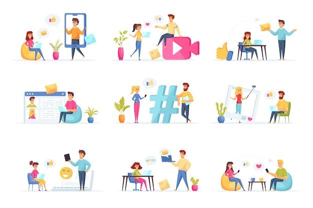 Social media verzameling personen personages