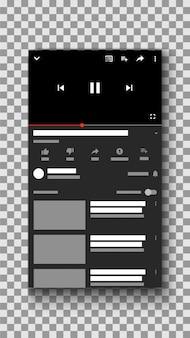 Social media videospeler mobiele telefoon ui-interface