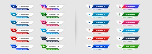 Social media web onderste derde banners pictogrammen instellen