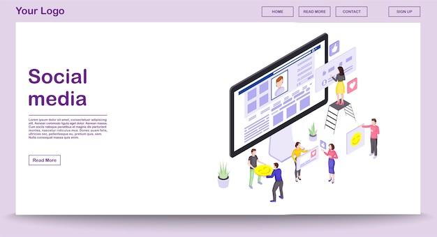 Social media webpagina vector sjabloon met isometrische illustratie