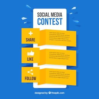 Social media-wedstrijdstappen
