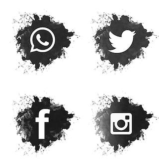 Social media zwarte grunge pictogrammen instellen