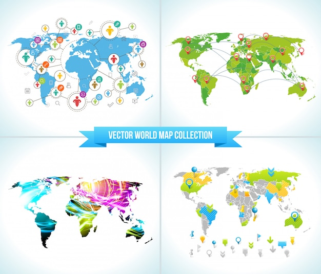 Social network world maps