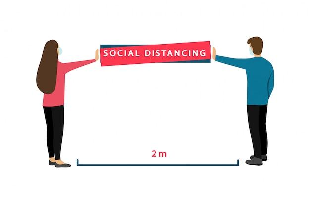 Sociale afstand 2 m. coronavirus preventie. banner met instructies.
