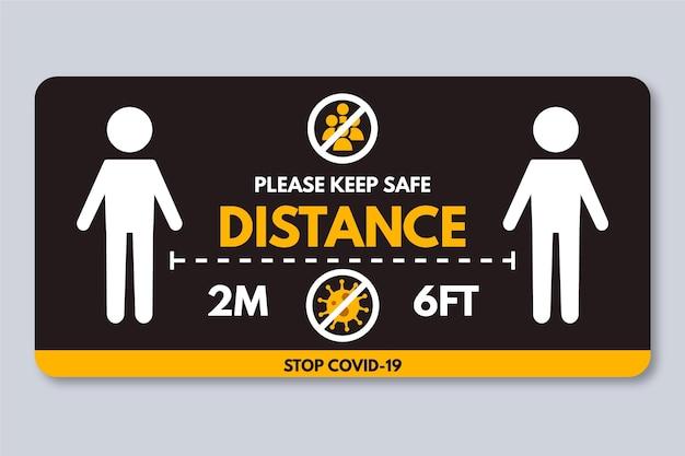 Sociale afstand banner teken