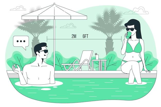 Sociale afstand bij de illustratie van het poolconcept
