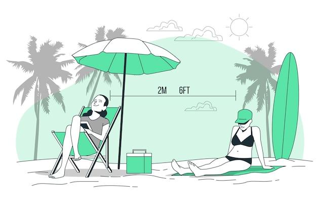 Sociale afstand bij de illustratie van het strandconcept