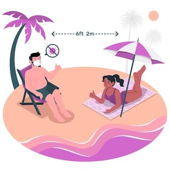 Sociale afstand bij de illustratie van het strandconcept Gratis Vector