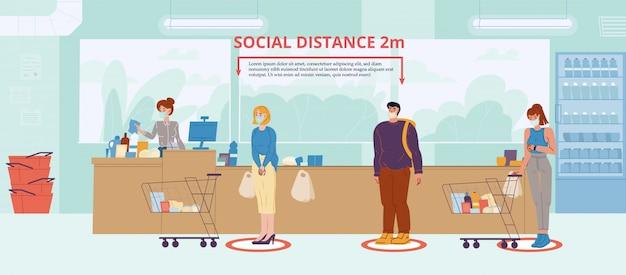 Sociale afstand bij de voorlichtingsaffiche van de supermarkt