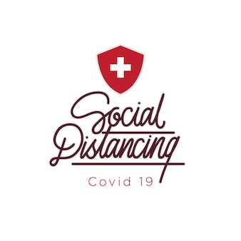 Sociale afstand covid 19 hand belettering