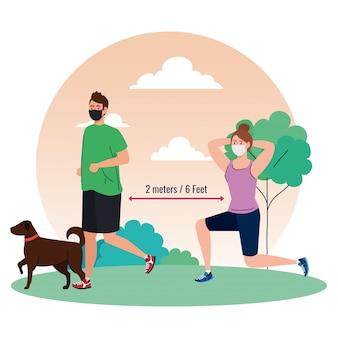 Sociale afstand, echtpaar met medisch masker, vrouw en man in het park aan het sporten met hond, coronavirus covid 19 preventie
