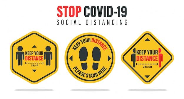 Sociale afstand. geef de afstand tot de mensen om je heen aan om verspreiding van het coronavirus te voorkomen.