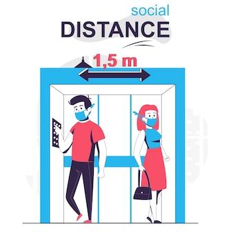 Sociale afstand geïsoleerd cartoonconcept man en vrouw die afstand nemen in het liftcoronavirus
