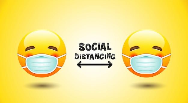 Sociale afstand, gezichtsmasker pictogram, emotie.