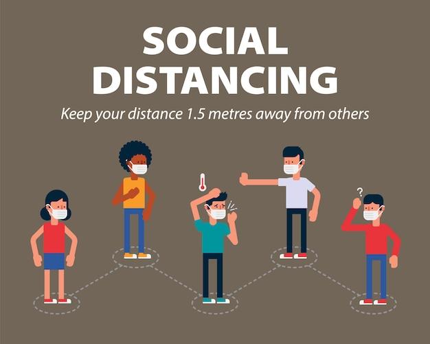 Sociale afstand, houd de afstand van 1 meter in het openbaar om te beschermen tegen covid-19, een manier om de verspreiding van het coronavirus te vertragen