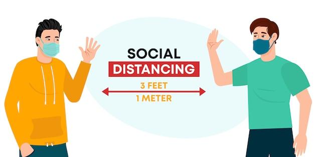 Sociale afstand houden, afstand bewaren in de openbare samenleving om mensen te beschermen tegen coronavirus. vrienden houden afstand tijdens de vergadering