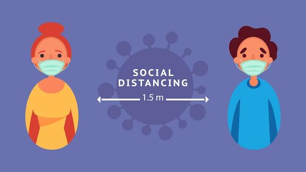 Sociale afstand houden liefdepaar afstand houden verminder de risico-infectie en het ziekteconcept van de crisissituatie die zich wereldwijd voordoet als gevolg van het coronavirus coronavirus 2019-ncov.
