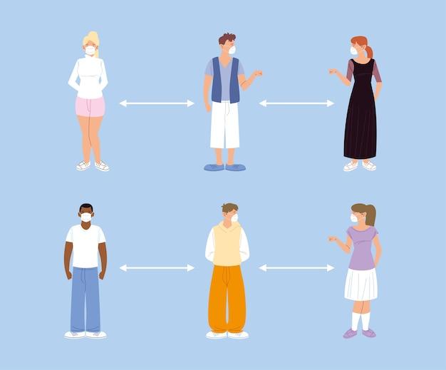 Sociale afstand houden, mensen houden afstand voor infectierisico en ziekte