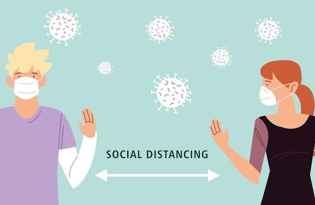 Sociale afstand houden, twee mensen houden afstand voor infectierisico en ziekte