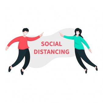 Sociale afstand illustratie