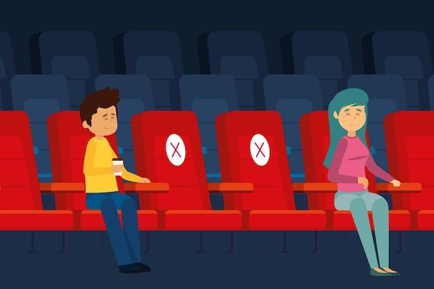 Sociale afstand in de bioscoop