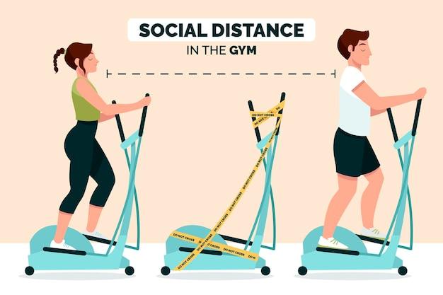 Sociale afstand in de sportschool concept