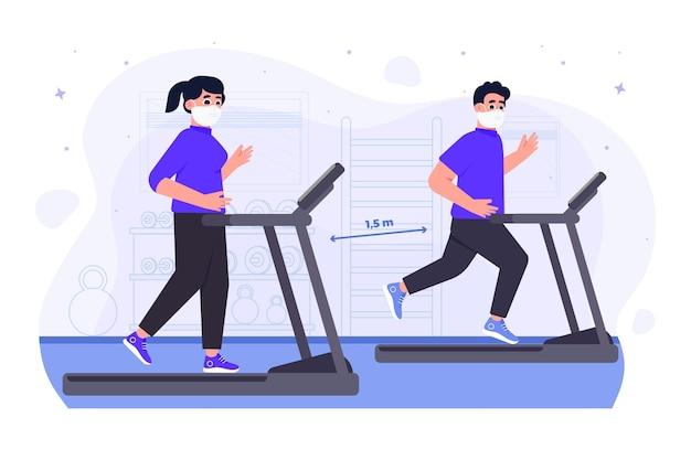 Sociale afstand in de sportschool nieuw normaal