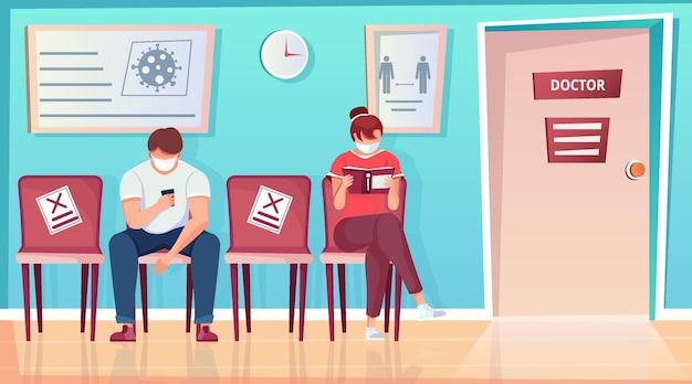 Sociale afstand in de vlakke samenstelling van het ziekenhuis met uitzicht op de klinieklobby en mensen die naast de stoel zitten