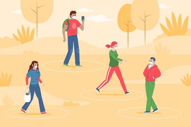Sociale afstand in een parkconcept