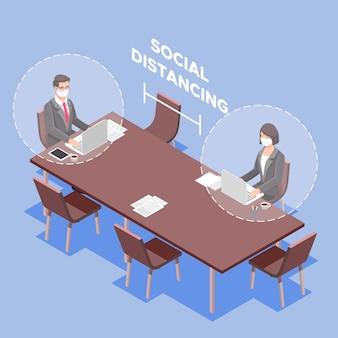 Sociale afstand in een vergaderontwerp