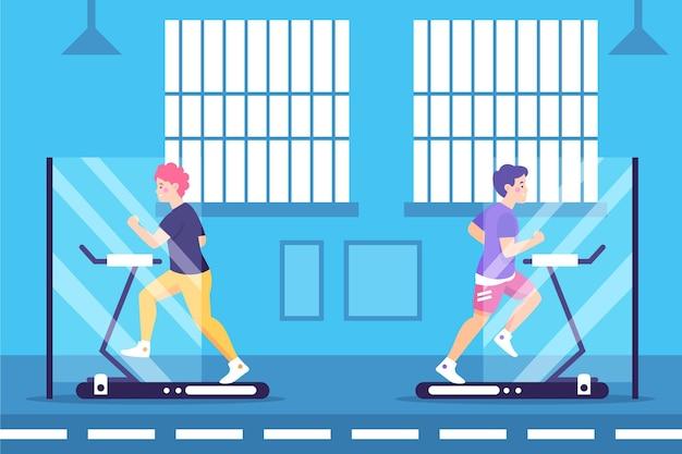 Sociale afstand in het concept van de sportschool