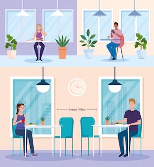 Sociale afstand in nieuw conceptrestaurant, mensen op tafels, bescherming, preventie van coronavirus covid 19